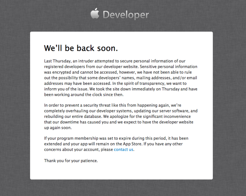 Apple developer portal hacked