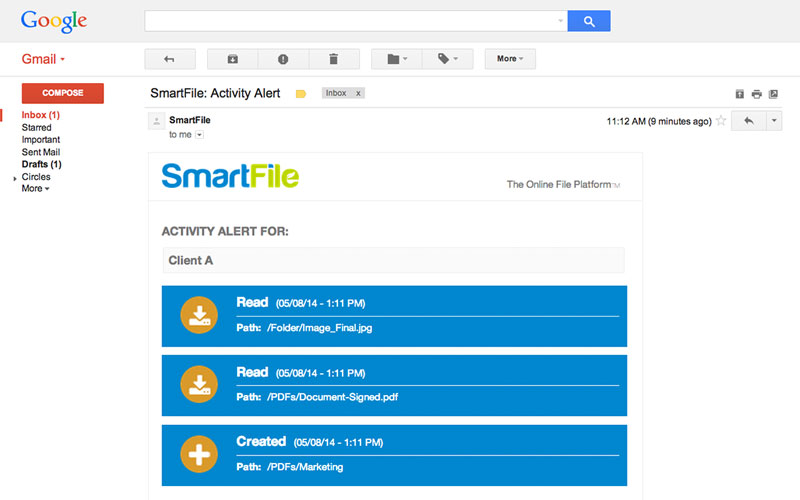 Email activity alters for file sharing