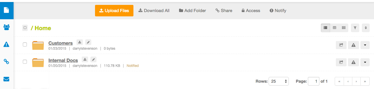 Note: I wanted to give a user full rights to the 'Internal Docs' Folder and only one file within the 'Customers folder'