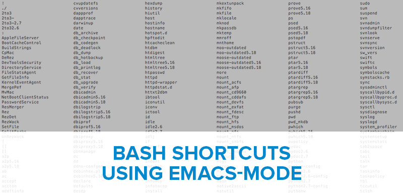 Bash Shortcuts for the Command Line (emacs)