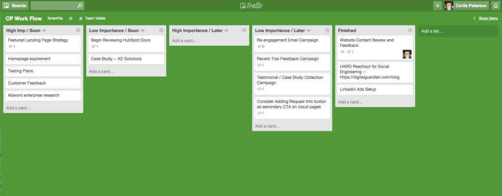 trello for geographically dispersed teams
