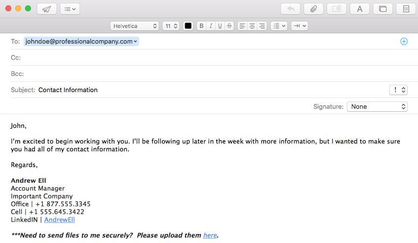 file custom portal in email signatures