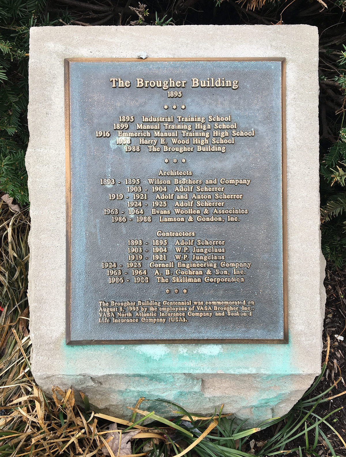the union brougher building cornerstone