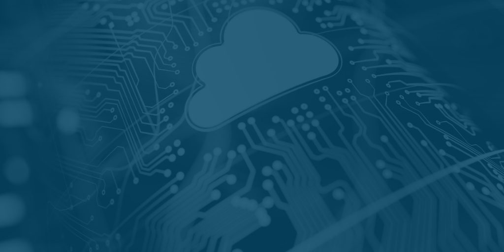 Business Cloud Computer with Blue Overlay