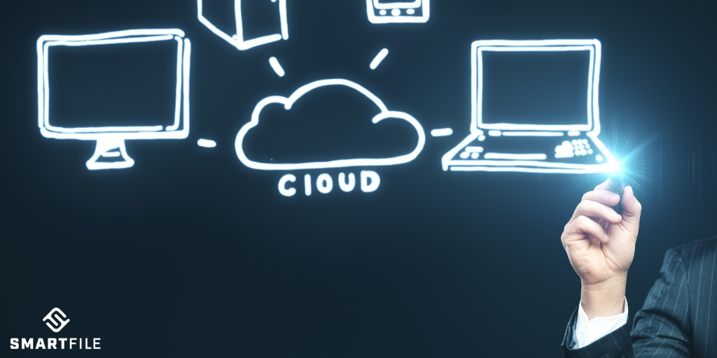 Cloud drawing with computers around it.